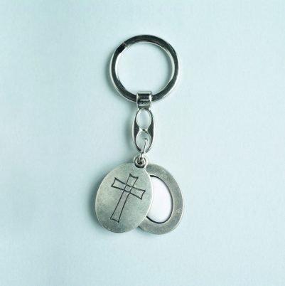Oval Cross Keychain